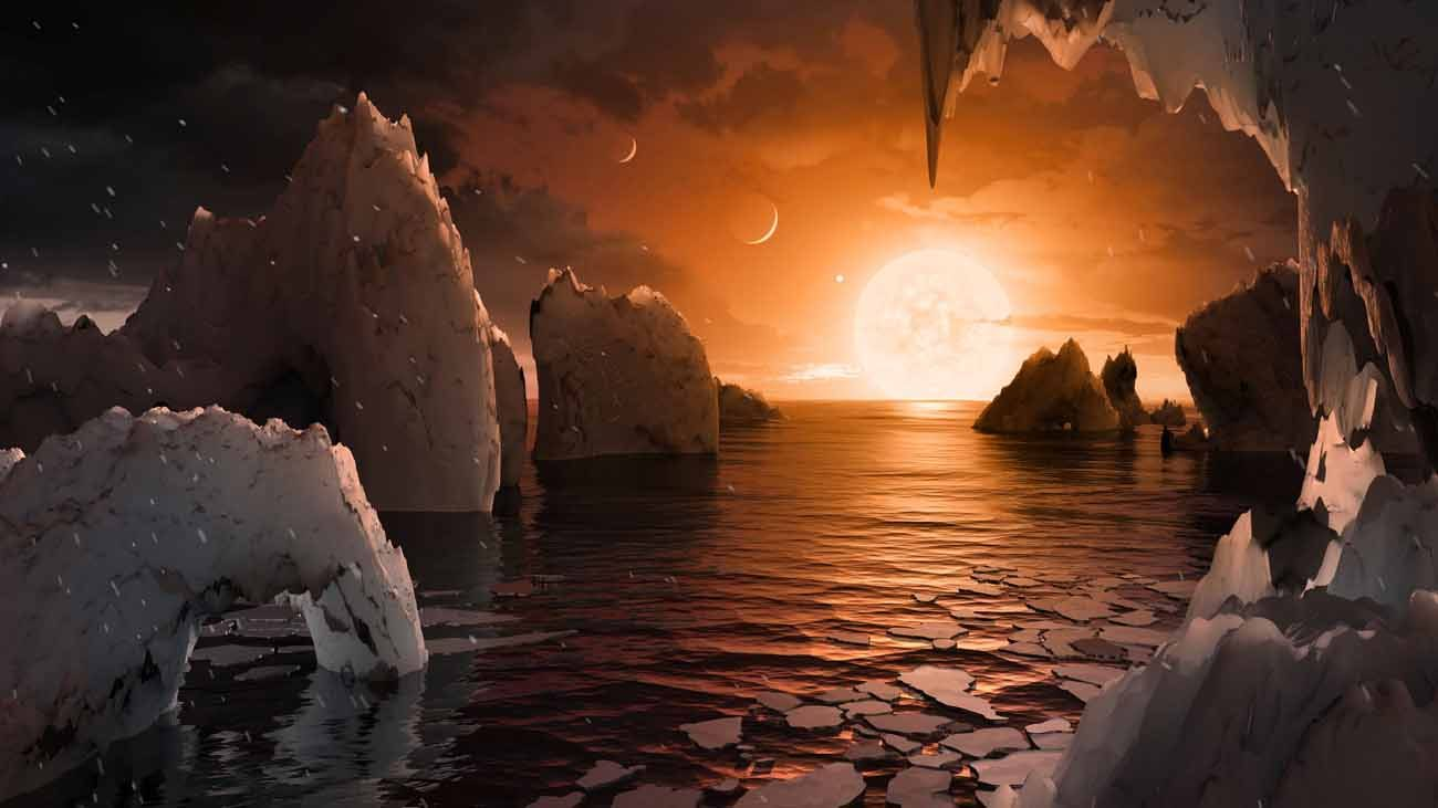 An artist's depiction shows the possible surface of TRAPPIST-1f, on one of seven newly discovered planets in the TRAPPIST-1 system. (CNS photo/NASA handout via Reuters)