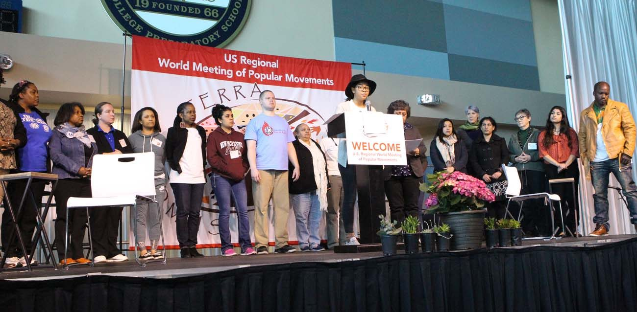 Representatives from small groups give the final message from the U.S. Regional World Meeting of Popular Movements Feb. 19 in Modesto, Calif. (CNS photo/Dennis Sadowski)