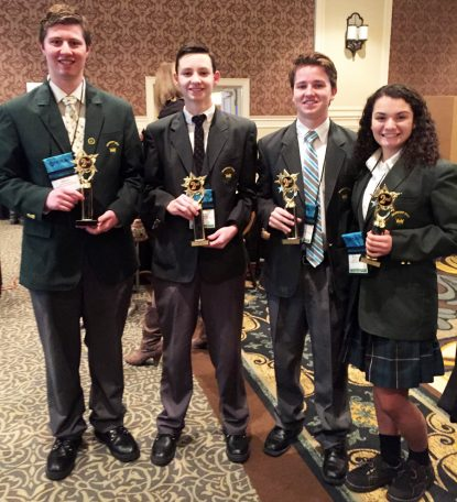 Archbishop Wood High School's inventors, who captured second place at a recent statewide competition in Hershey, Pa., include students (from left) Jacob Leinenbach, Shane Kennedy, Greg McFadden and Arianna DiPalma.
