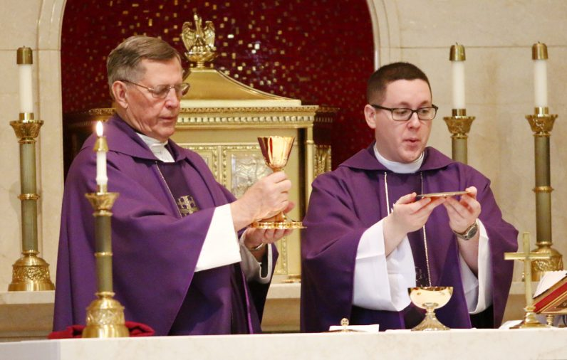 Father Charles O'Hara, pastor of St. Joseph Parish in Spring City, Chester County, and Father Kenneth Brabazon of the Cathedral Parish concelebrate the Mass for healing and recovery.