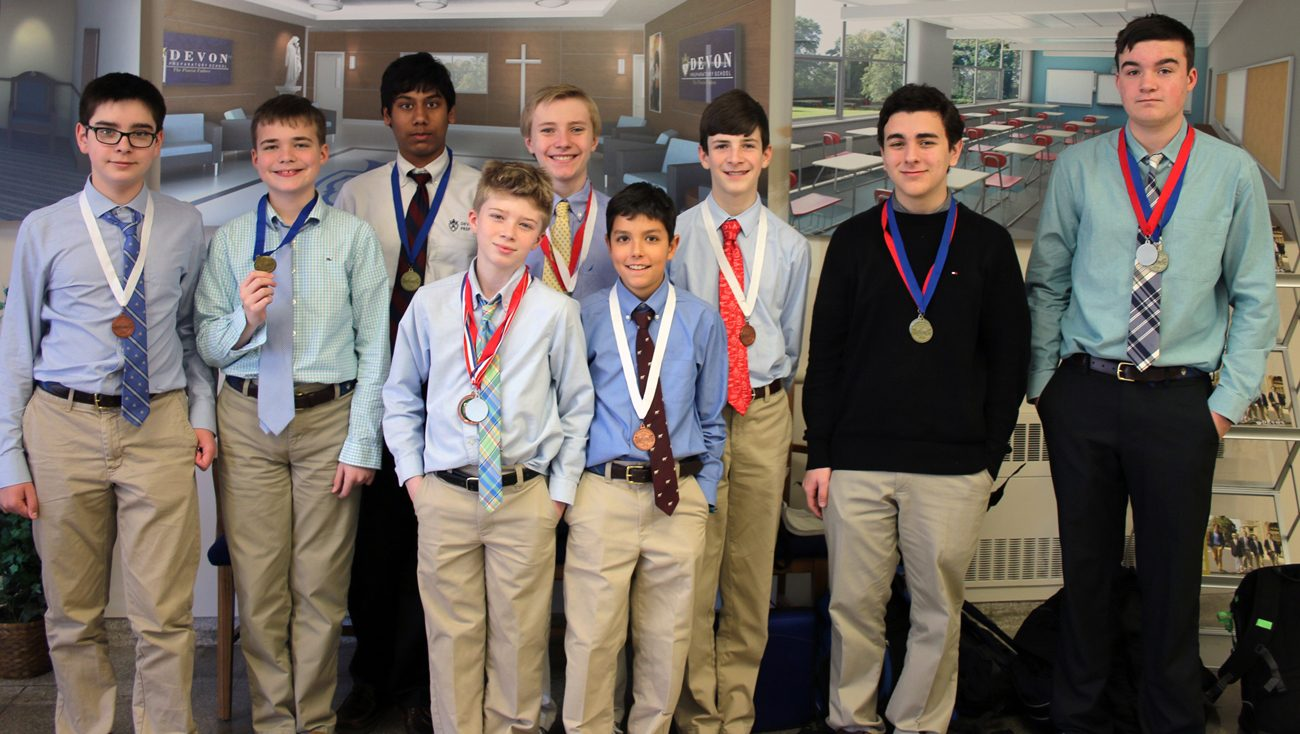 Nine Devon Prep students earned six awards in the High School and Middle School divisions of the Pennsylvania Regional Science Olympiad held at Neumann University. The awardees are, from left: Noah Salewski, Matthew Sarkees, Nolan Ramanjulu, Michael Gaetano, Dylan Smoot , Pablo Alonso, Owen Pilacik, Matthew Siracusa and William Rule.