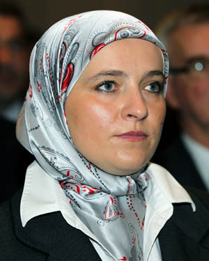 Amra Babic, Europe's first mayor to wear a hijab, is pictured during a 2012 news conference in Sarajevo, Bosnia-Herzegovina. Religious leaders have criticized a ruling by the European Union's highest court that could allow employers to prohibit staff from wearing visible religious symbols in the workplace. (CNS photo/Fehim Demir, EPA)