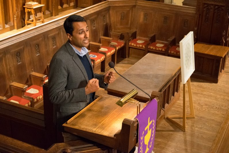 Eboo Patel, director of Interfaith Youth Core, spoke on interfaith leadership March 7 in the Cardinal Foley Campus Center at St. Joseph's University.