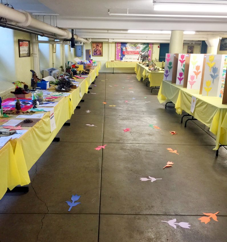 St. Peter the Apostle School displays the many entries of its junior flower show.