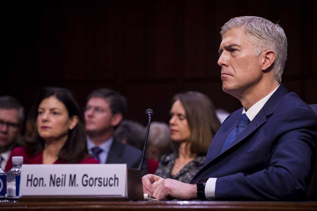 Judge Neil Gorsuch, President Donald Trump's nominee for the U.S. Supreme Court, attends his Senate Judiciary Committee confirmation hearing on Capitol Hill March 20 in Washington. (CNS photo/Pete Marovich, EPA)