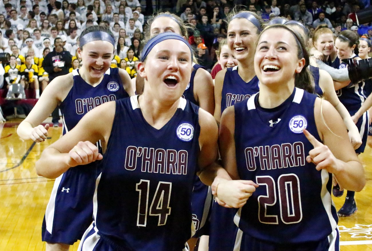 The ladies of O'Hara look to the scoreboard as they win the Catholic League championship Feb. 27 at the Palestra. (Sarah Webb)