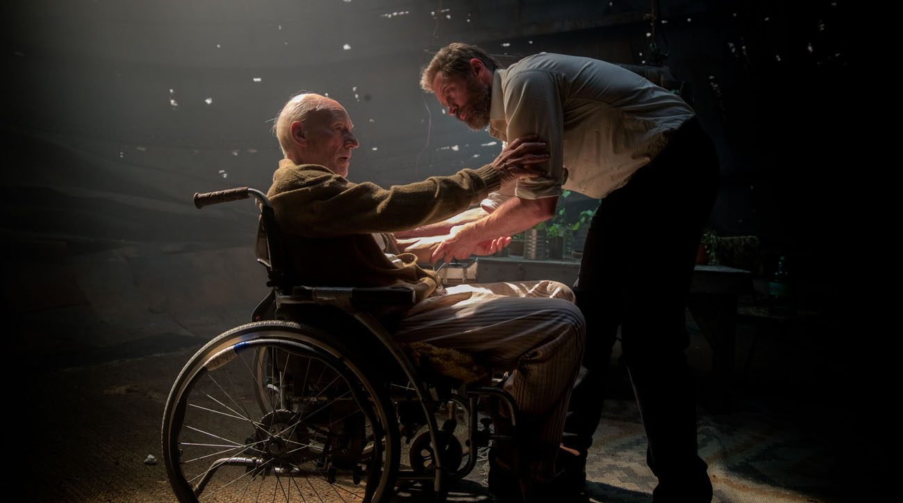 "Patrick Stewart and Hugh Jackman star in a scene from the movie ""Logan.""  (CNS photo/Fox)"