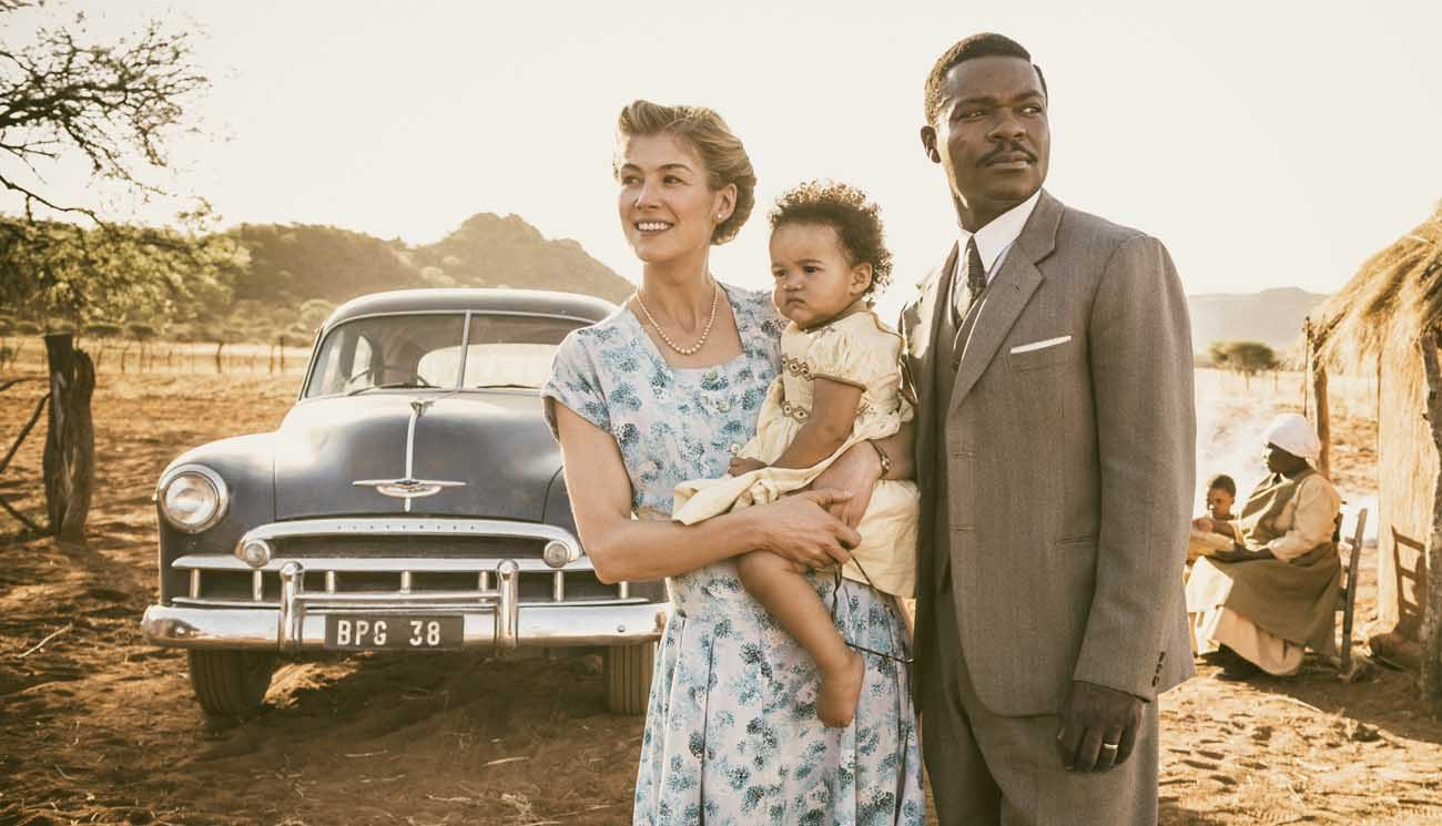 "Rosamund Pike, Madison Manowe and David Oyelowo star in a scene from the movie ""A United Kingdom."" (CNS photo/Fox)"