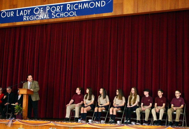 Chris Mominey addresses the scholarship students at Our Lady of Port Richmond Regional School, Philadelphia, March 30.