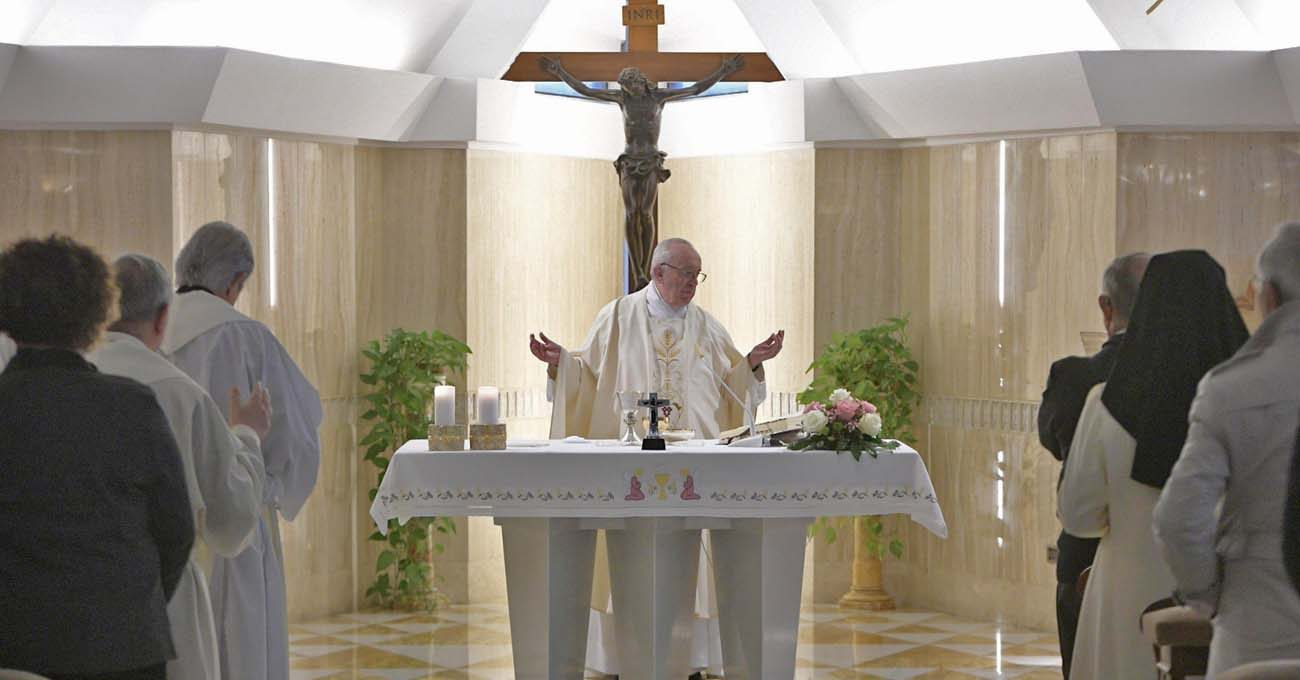 Pope Francis celebrates Mass March 20 at the Vatican's Domus Sanctae Marthae. (CNS photo/L'Osservatore Romano via EPA)