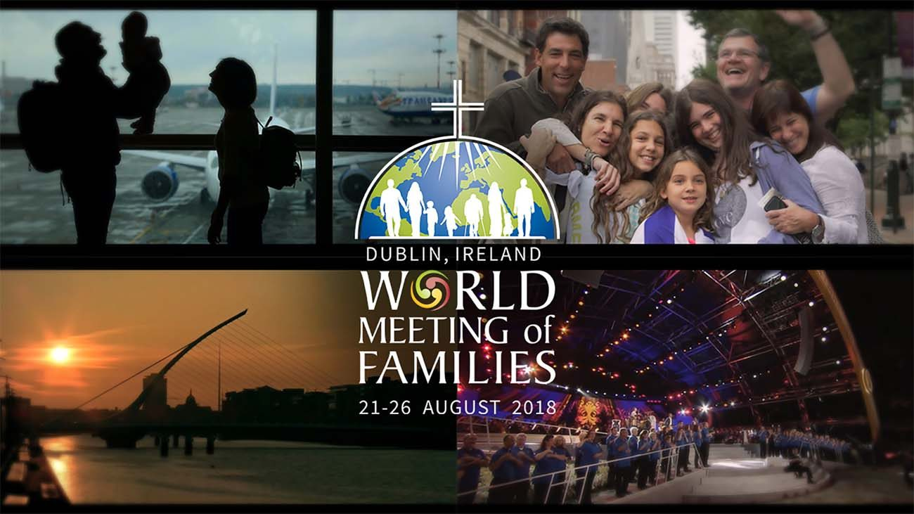 """This is a promotional image for World Meeting of Families to be held Aug. 21-26, 2018, in Dublin. The theme of the meeting is """"The Gospel of the Family: Joy for the World."""" (CNS illustration/World Meeting of Families)"""