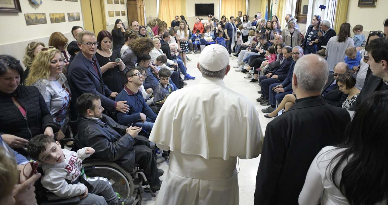 Pope Francis visits the Sant' Alessio-Margherita di Savoia Regional Center for the Blind March 31 in Rome. (CNS photo/L'Osservatore Romano)