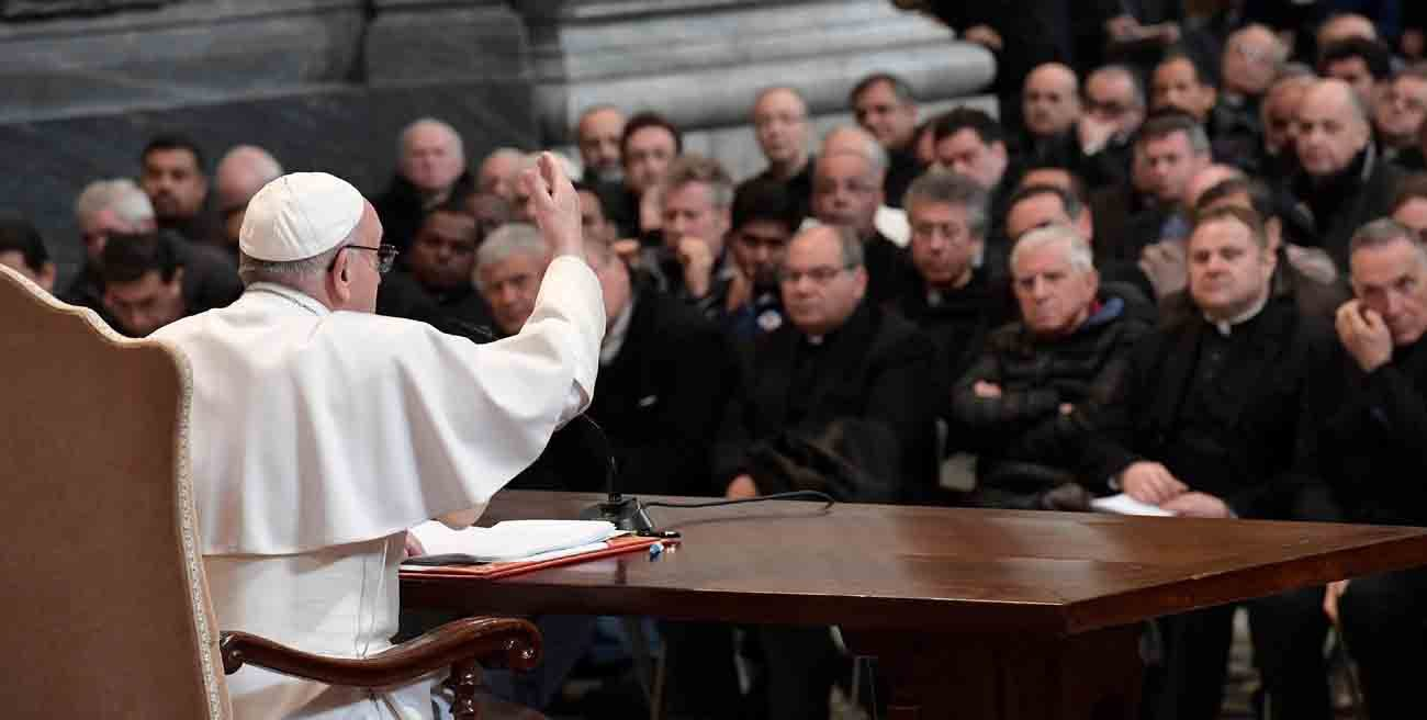 Pope Francis addresses priests of the Diocese of Rome during a meeting at the Basilica of St. John Lateran in Rome March 2. The Vatican said Pope Francis spent about 45 minutes hearing confessions, offering the sacrament to a dozen priests before beginning his talk. (CNS photo/L'Osservatore Romano, handout)