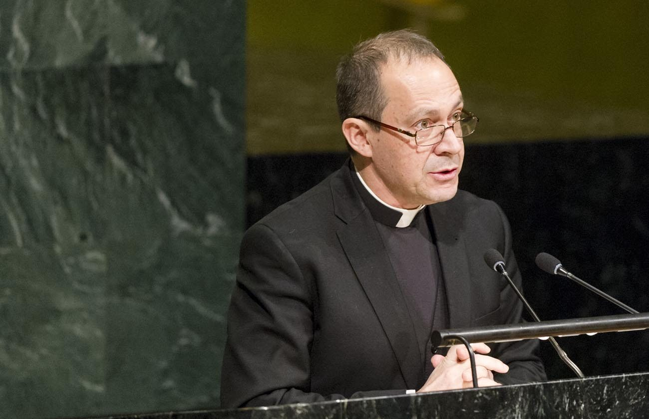 Msgr. Antoine Camilleri, Vatican undersecretary for relations with states, delivers a message from Pope Francis to a U.N. conference on nuclear weapons March 27 in New York City. (CNS photo/Rick Bajornas, UN)