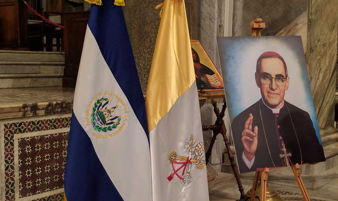 A portrait of Blessed Oscar Romero is displayed March 23 in Rome's Basilica of Santa Maria in Trastevere. (CNS photo/Junno Arocho Esteves)