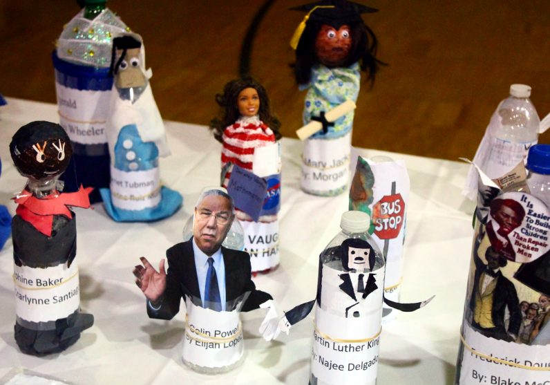 Students from St. Peter the Apostle School made water bottle figures in honor of Black History Month.