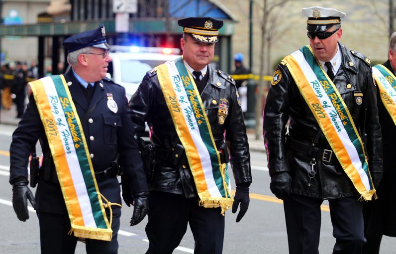 "Several police officers were among the ring of honor for the 2017 St. Patrick's Day Parade where the theme was ""Protect and Guide Our Police Officers."""