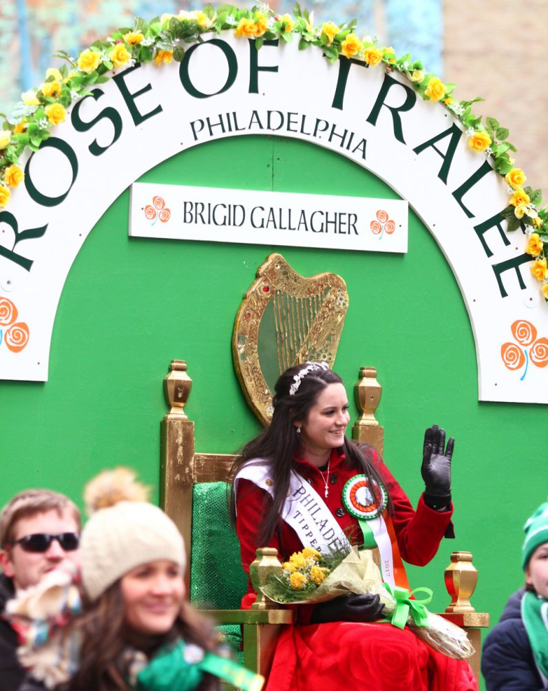 Brigid Gallagher from Rose of Tralee waves to those attending the parade.
