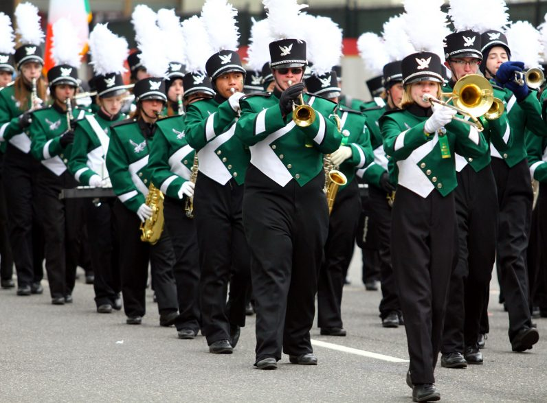 The Bishop Shanahan Marching Band traveled from the Downingtown archdiocesan high school to march in the parade.