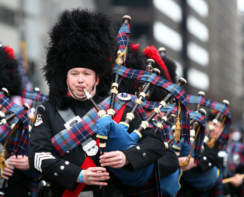 Philadelphia Police and Fire Pipes & Drums adds sound and color to the festivities.