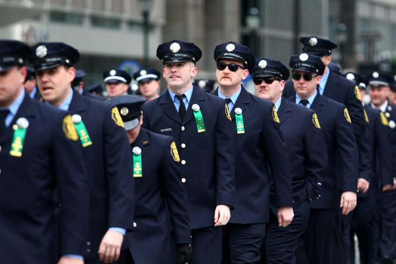 Some of Philadelphia's finest men and women in blue -- prayer for police officers in the region was a theme of the St. Patrick's Day parade -- march in the parade.