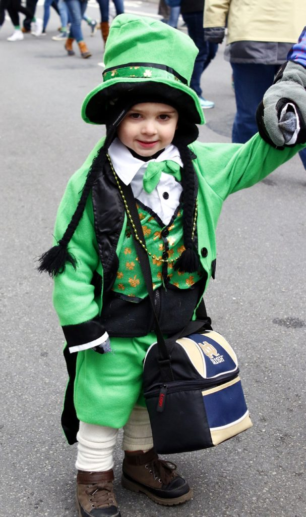 Nace Mullen from Old St. Mary Church in Philadelphia is decked out in his Irish best to march in the parade.