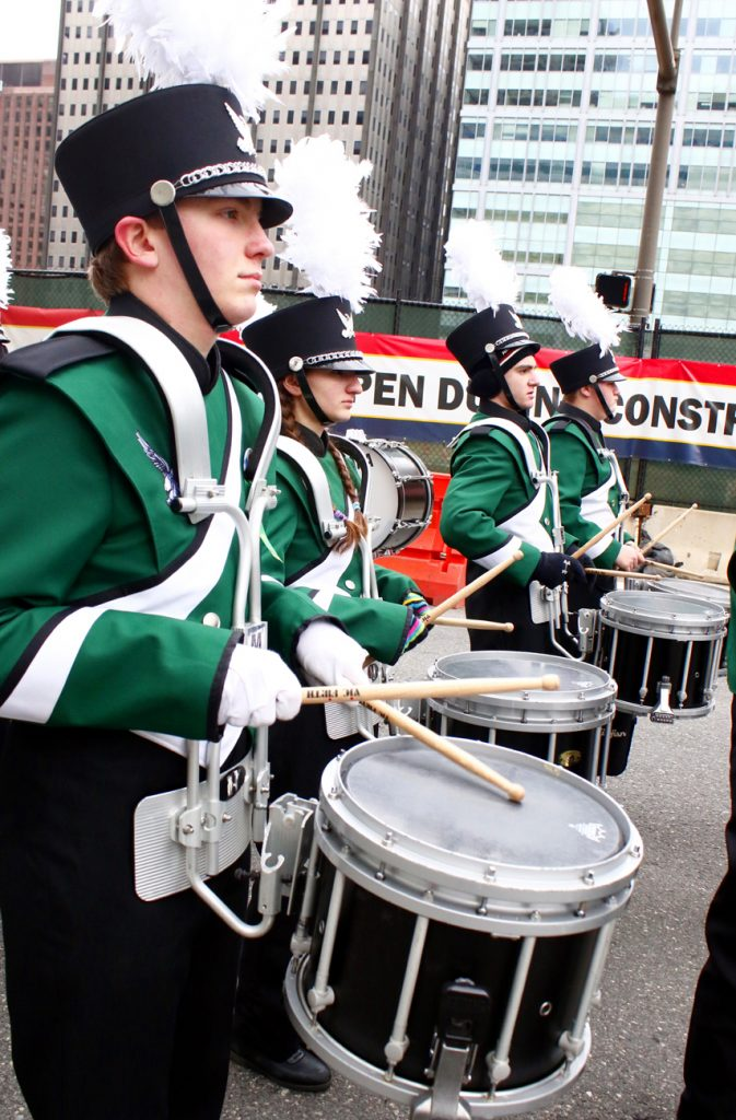 Bishop Shanahan High School's band put the crowd in a festive mood.