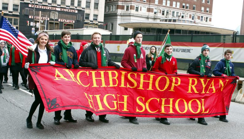 Students from Archbishop Ryan High School proudly march in the St. Patrick's Day Parade.