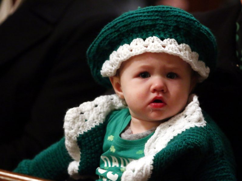 Alyssa Lamberti from St. Cecilia Parish in Philadelphia is decked out in a handmade Irish sweater and hat for the day's celebrations.