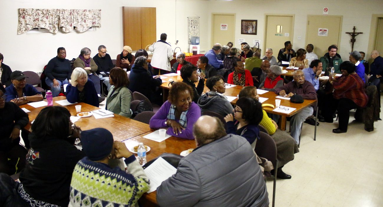 "Participants take part in the  ""Conversation on Race in Our Country"" Feb. 28 at St. Raymond Parish, Philadelphia (Sarah Webb)"