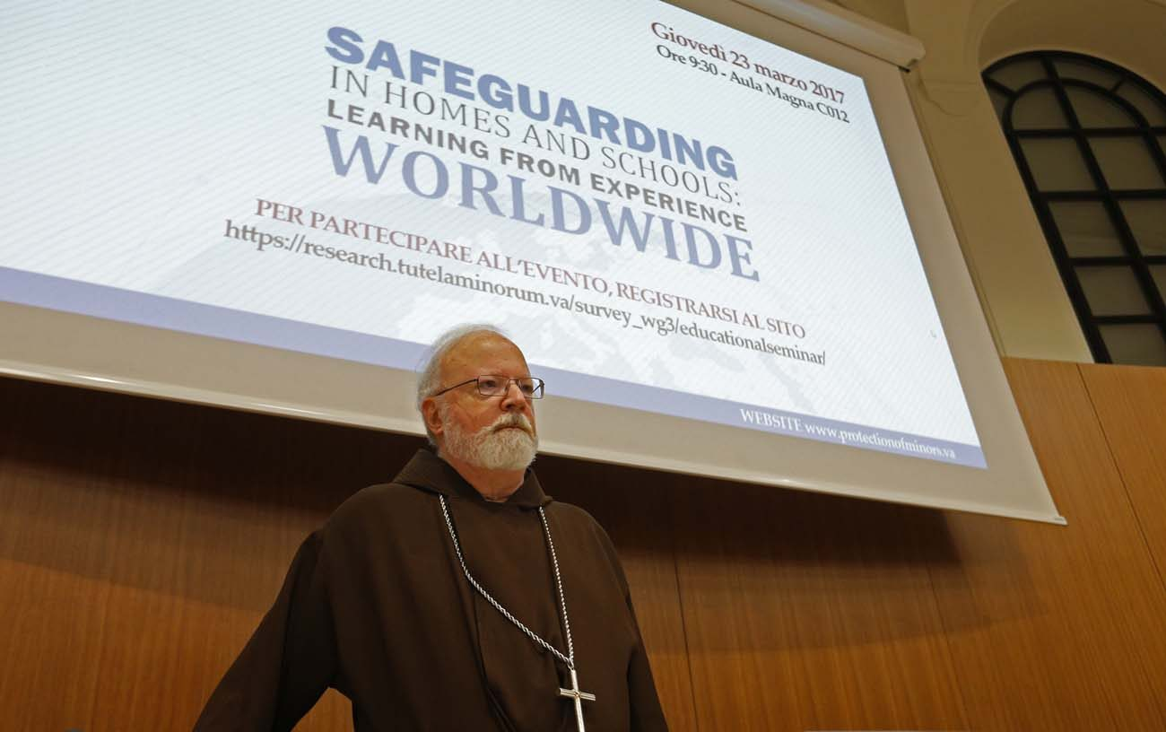 U.S. Cardinal Sean P. O'Malley, president of the Pontifical Commission for the Protection of Minors, is pictured during a seminar on safeguarding children at the Pontifical Gregorian University in Rome March 23. (CNS photo/Paul Haring)