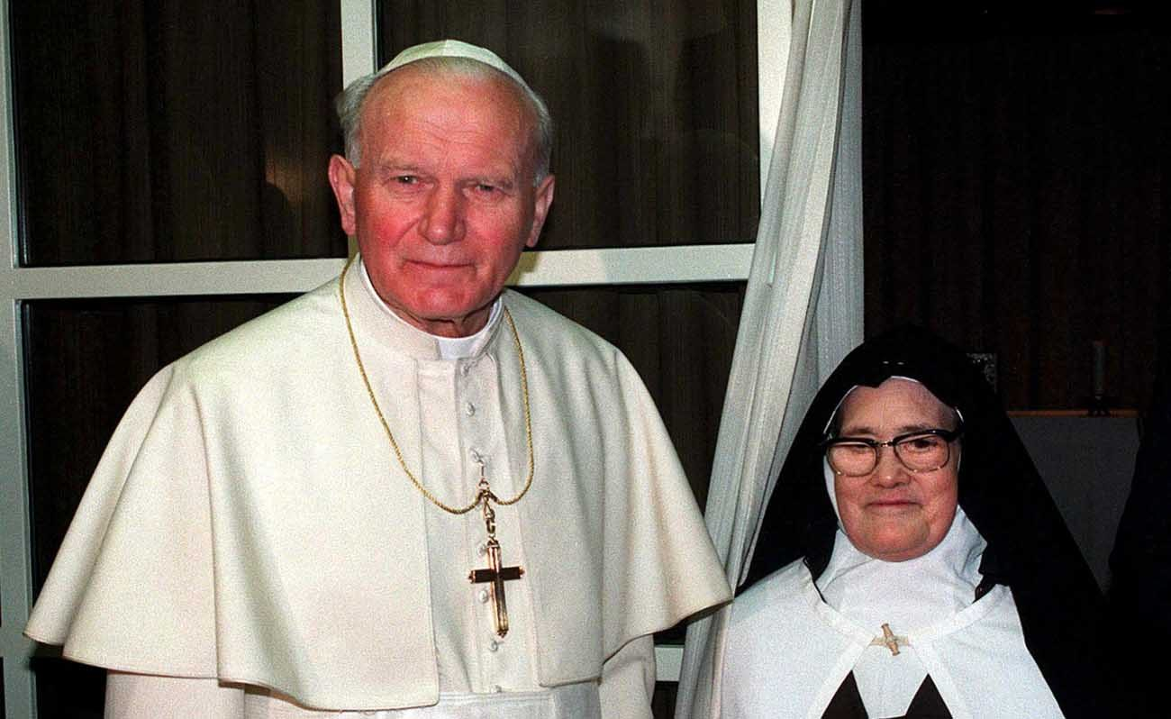 Pope John Paul II is pictured with Carmelite Sister Lucia dos Santos, the last of the three Fatima visionaries alive in 1991. Recent popes have had a special affection for Our Lady of Fatima, but no pope's connection can match that of now St. John Paul II. (CNS photo/Joao Paul Trindade via EPA)