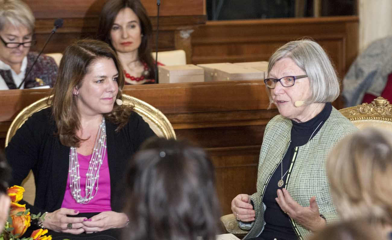 "Kerry Alys Robinson and Sister Simone Campbell, a Sister of Social Service, speak during the Voices of Faith gathering March 8 at the Vatican. The event, held on International Women's Day, had the theme ""Stirring the Waters-Making the Impossible Possible."" (CNS photo/Massimiliano Migliorato, Catholic Press Photo)"