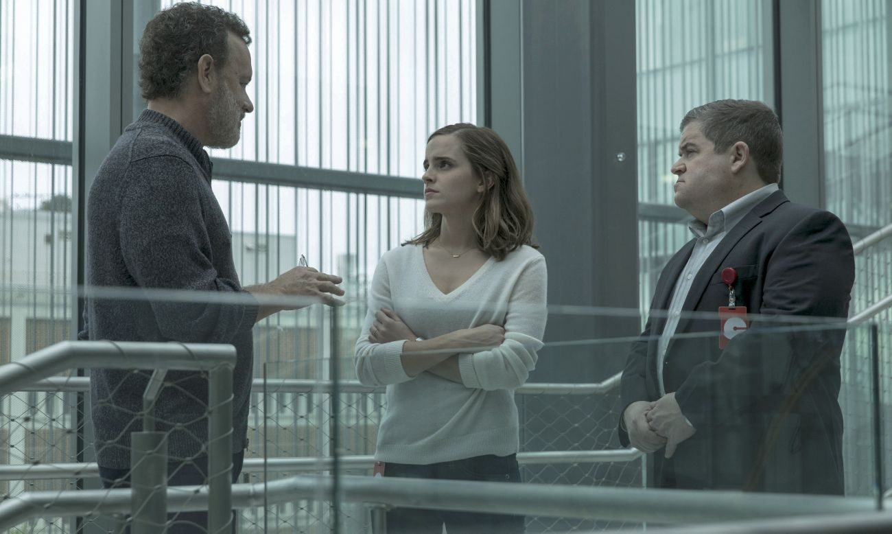 "Tom Hanks, Emma Watson and Patton Oswalt star in a scene from the movie ""The Circle."" (CNS photo/STX Films)"