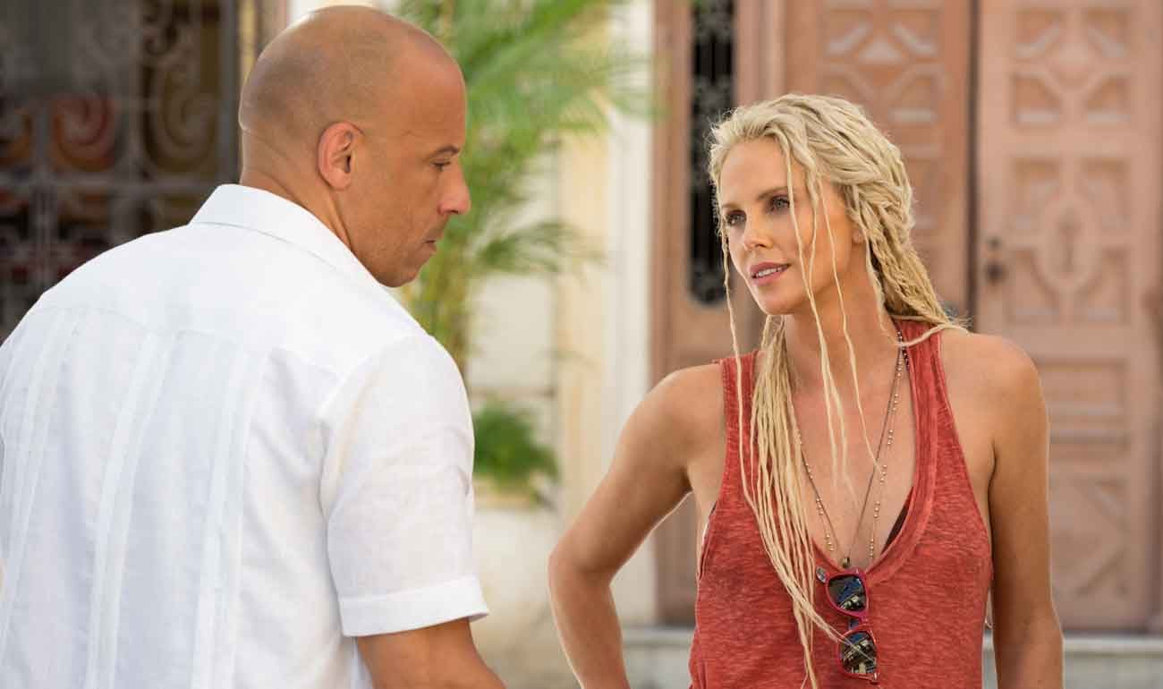 """Vin Diesel and Charlize Theron star in a scene from the movie """"The Fate of the Furious.""""  (CNS photo/Universal)"""