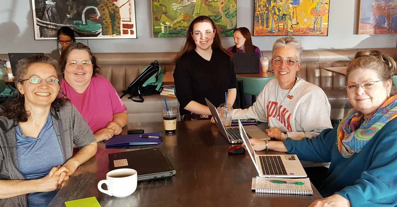 Sister Barbara Battista, a member of the Sisters of Providence of Saint Mary-of-the-Woods, Ind., second from right, participates in a planning meeting for the Wabash Valley March for Science in Terre Haute, Ind. (CNS photo/Global Sisters)