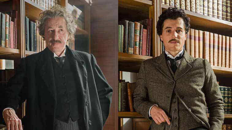 Academy Award-winning actor Geoffrey Rush (left) as the elder Einstein, British newcomer Johnny Flynn (right) as Einstein in his youth.