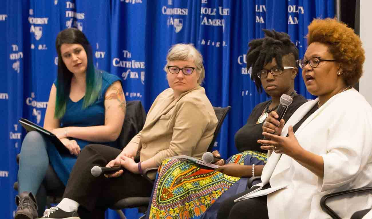Speakers debate whether pro-life advocates also can be feminists at an April 10 panel discussion at The Catholic University of America in Washington. Panelists included Aimee Murphy of Rehumanize International, writer and activist Robin Marty, Cessilye Smith of Doulas for Life and Pamela Merritt of Reproaction. (CNS photo/The Catholic University of America)