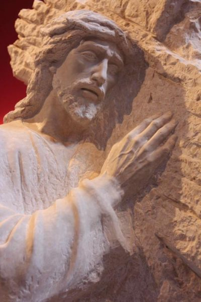 This figure of Jesus bearing the cross on his way to Calvary is part of a life-size Way of the Cross by stone carvers from the Artesanos Don Bosco in Huaraz, Peru. The statues will be installed in a prayer garden at Holy Spirit Catholic Church in Las Vegas. (CNS photo/Barbara Fraser)