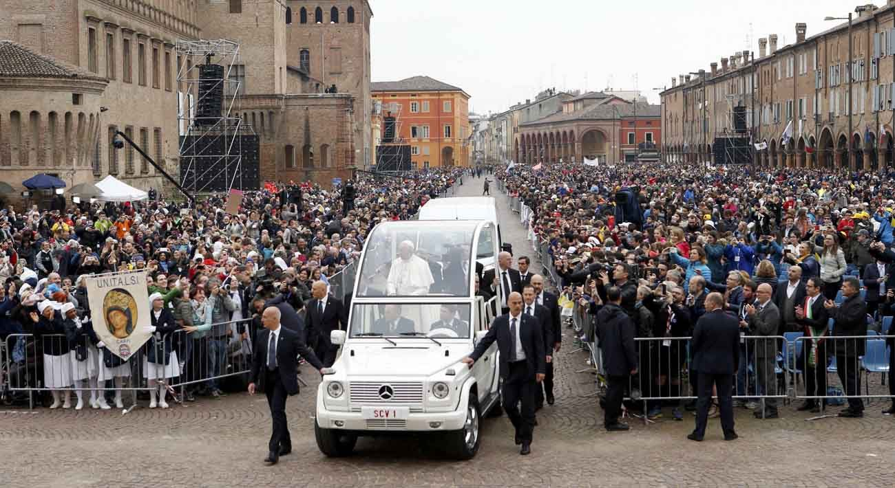 Pope Francis arrives to celebrate Mass in Carpi, Italy, April 2. (CNS photo/Alessandro Garofalo, Reuters)