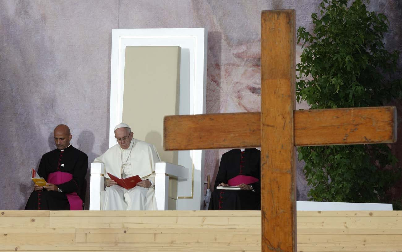 Pope Francis presides at the Way of the Cross during World Youth Day in Blonia Park in Krakow, Poland, in this July 29, 2016, file photo. (CNS photo/Paul Haring)