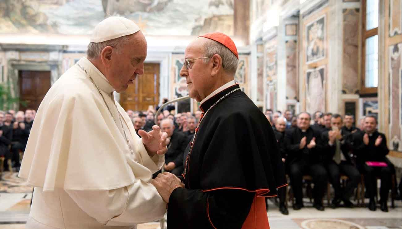 Pope Francis greets Cardinal Ricardo Blazquez Perez of Valladolid, Spain, during an audience with seminarians and faculty of the Pontifical Spanish College of St. Joseph at the Vatican April 1. Cardinal Blazquez Perez is patron of the seminary in Rome. (CNS photo/L'Osservatore Romano, handout)