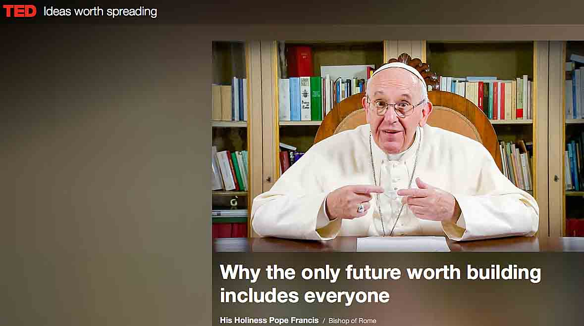 This is a screen grab with an image of Pope Francis from www.ted.com. The pope was a surprise presenter in a video talk played April 25 for 1,800 people attending TED 2017 in Vancouver, British Columbia, and posted online with subtitles in 20 languages. (CNS photo/TED.com)