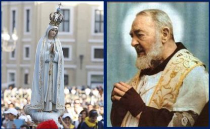 Our Lady of Fatima (left) and the relics of Padre Pio will be honored beginning in May in the Cathedral Basilica of SS. Peter and Paul, Philadelphia.