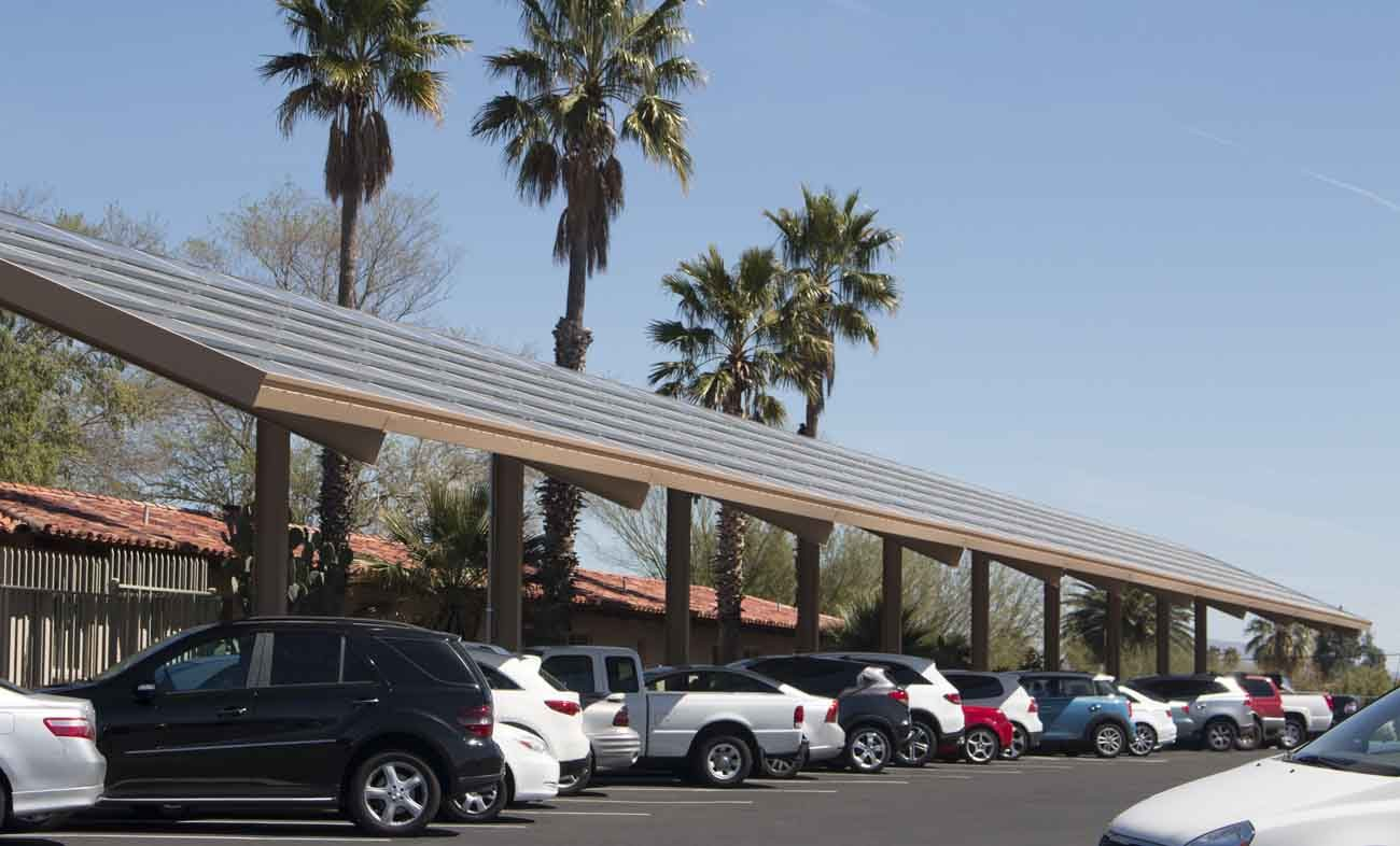 Solar panels reside on a parking canopy at the Carmelite residence near Salpointe High School in Tucson, Ariz. (CNS photo/Michael Brown, Catholic Outlook)