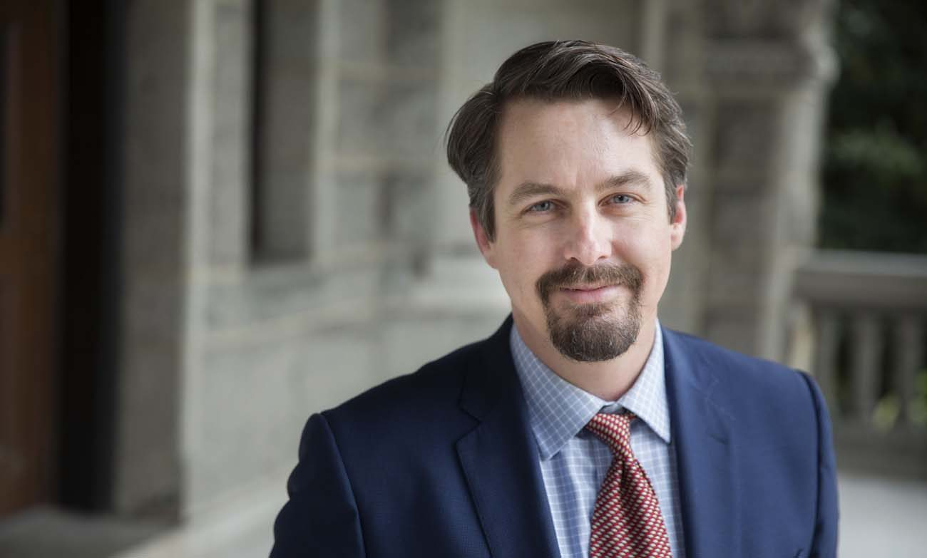 """Chad Pecknold, associate professor of systematic theology at The Catholic University of America in Washington, is pictured in a Jan. 24 photo. Pecknold  teaches a Twitter course on St. Augustine's """"City of God."""" (CNS photo/Jaclyn Lippelmann, Catholic Standard)"""