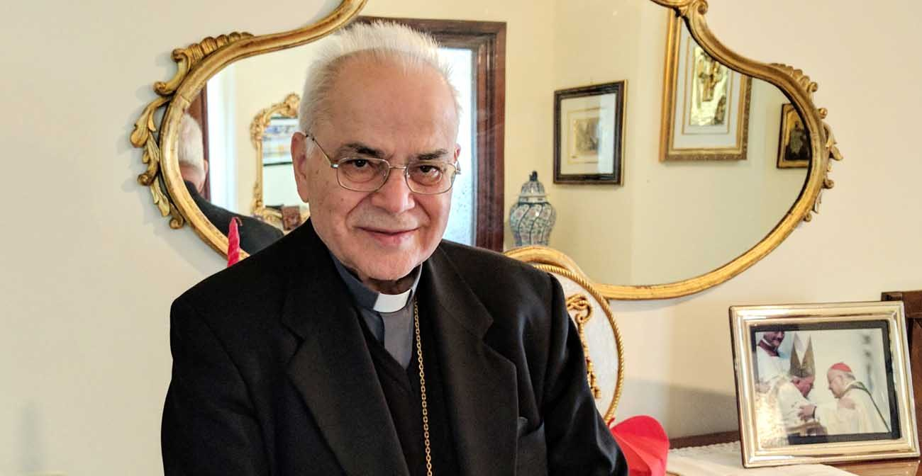 Portuguese Cardinal Jose Saraiva Martins, former prefect of the Congregation for Saints' Causes, is pictured at his residence at the Vatican March 29. (CNS photo/Junno Arocho Esteves)