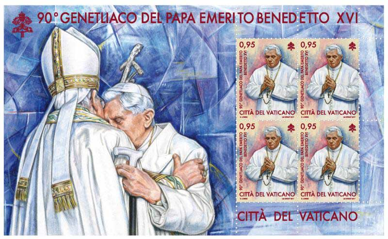 In early May the Vatican stamp and coin office will release stamps marking retired Pope Benedict XVI's 90th birthday and important events in the life of the church spanning almost 2,000 years.(CNS photo/Vatican)