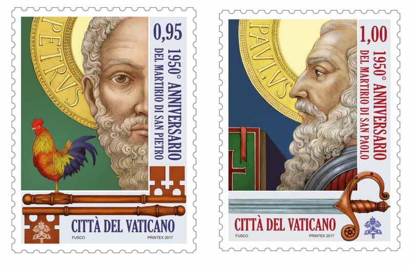 The Vatican will release stamps to mark the 1,950th anniversary of the martyrdoms of Sts. Peter and Paul, founders of the church in Rome.