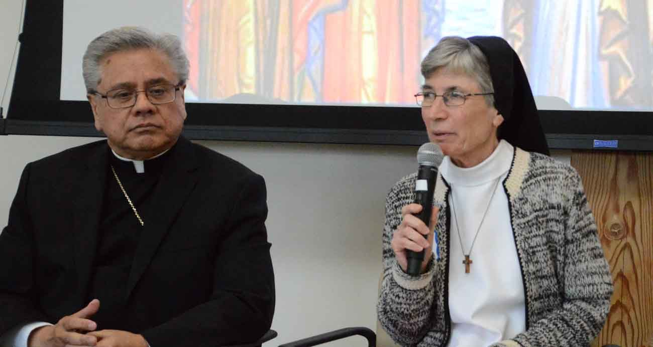 Bishop Randolph R. Calvo of Reno, Nev., and Dominican Sister Gloria Marie Jones, answer questions from the audience during an April 8 dialogue on the prospect of women deacons held in Fremont, Calif. (CNS photo/Michele Jurich, Catholic Voice)